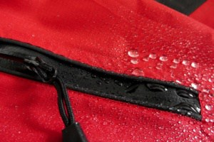 Water on the outside of a waterproof backpack
